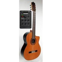 C320.206S CE Guitarra Clasica Vicente Tatay - Fondo Palosanto Tapa Maciza de Abeto - Brillo - Amplificada Fishman PSY-301 y Cut